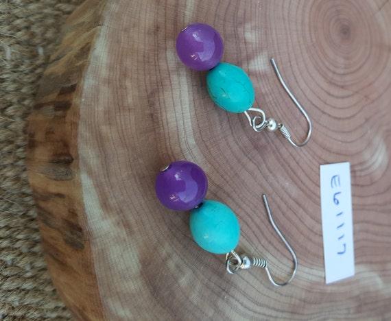 Purple Turquoise Earrings / Purple Turquoise Howlite Earrings / Dangle Earrings / Hippie Earrings / Boho Jewelry /E61117