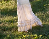 Cream 100% Cotton Muslin Petticoat - Prairie Ruffled Skirt - Adult / Women's Custom-Made - Moth & Rust Handmade in Kansas - No. 23