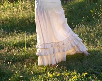 Prairie Dusk Petticoat - Cream 100% Cotton Muslin Skirt - Ruffles Ruffled - Adult / Women's Custom-Made - Moth & Rust Handmade in Kansas