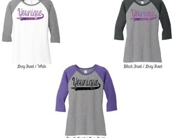 Glitter Younique 3\4 Raglan Sleeve Shirt, Younique Shirt, Younique