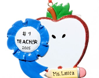 Apple #1 Teacher Personalized Ornament-Free Gift Bag Included