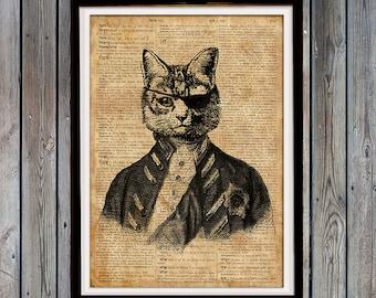 Rustic decor Cat lover gift Retro print Animal art print Wall decor SH29