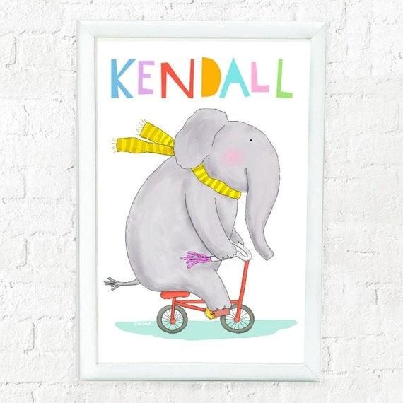 Personalized prints for kids nursery, bedroom, custom art for kids, custom baby gift, children's decor, kids elephant print, nursery decor,