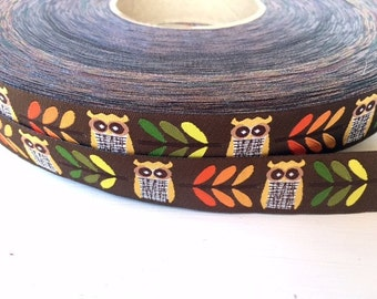 Autumn owl Jacquard Ribbon