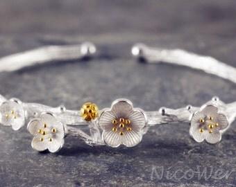 Silver Bangle Cuff Bracelet 925 ladies jewelry gift SAR103