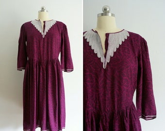 vintage Autumn Plum cotton dress   vintage purple dress