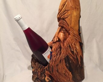 Hand Carved, Wood Spirit, Wood Carving, Art, Home Deco, Wine Bottle holder, Sculpture, Wizard, Gift For Her, Gift For Him, wood working