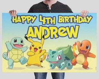 BANNER - Pokemon - Birthday Banner - Party Banner