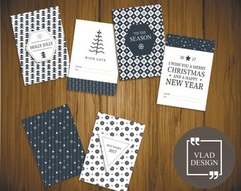 6 Blue winter style cards A5 format Christmas cards DIY Printable cards Winter design cards Digital card Christmas card New year card