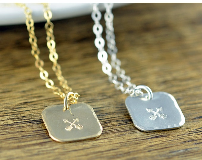 Crossed Arrow Necklace, Friendship Necklace, Friendship Arrows Necklace,Crossed Arrows Charm,Best Friend Gift, Friends Jewelry, Gift for BFF