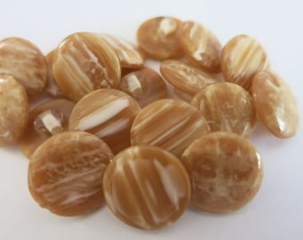 20 Brown Buttons 15mm Shank Back A80