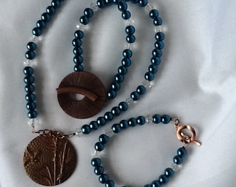 Copper and cobalt necklace and bracelet set