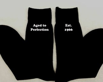 Personalised Men Mens Socks ANY MESSAGE Aged to Perfection Est. Gift Present Embroidered Message Husband Grandad Uncle Underwear
