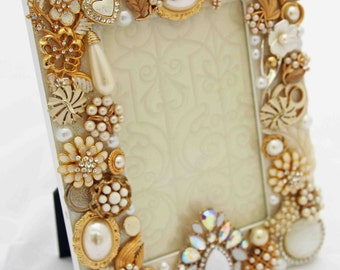 White and Gold Jeweled Picture Frame