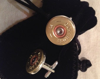 Slimline upcycled shotgun cartridge cufflinks