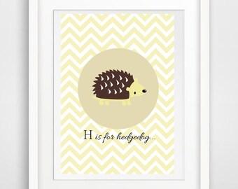 Printable art hedgedog - hedgedog print - hedgedog -  digital prints - nursery printable - instant download - modern print - wall prints