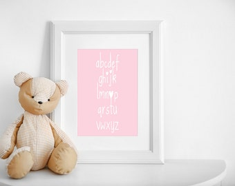 Nursery Art- Childrens Pink Alphabet Print- with Heart detail- Baby Girl Nursery Decor