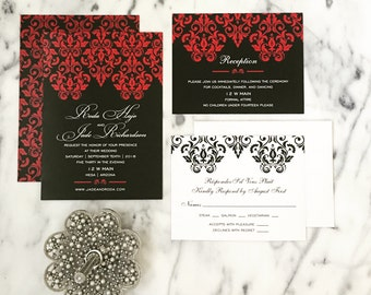 wedding invitation set damask wedding invitation black and red wedding invitation romantic wedding
