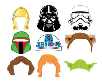 Star Wars Set 9 Photo Booth Props - Instant Download 300 dpi Printable - Darth Vader, Luke Skywalker, yoda, party mask, comic mask, birthday