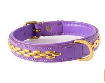 Royal Lavender Leather Dog Collar