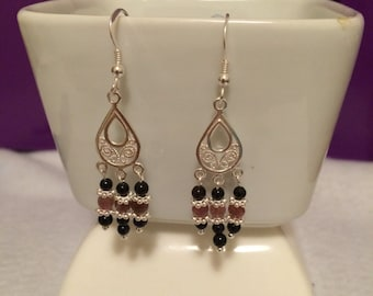 Moroccan Inspired Tourmanline and Sterling Silver Chandelier Earrings.