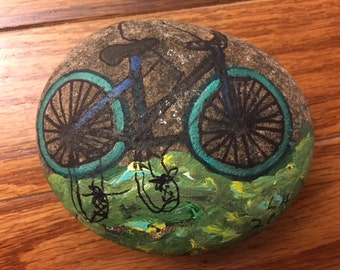 Bicycle Hand Painted Stone Rock Art