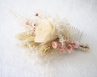 Cottage Bridal Hair Comb, Dry Flower Bridal Hair Comb, Bridesmaid Hair Comb, Flower Girl Headpiece, Hair Comb for Wedding, Bridal Headpiece