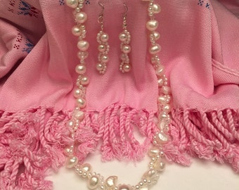 Item #4 Dramatic waves pearls necklace earring set