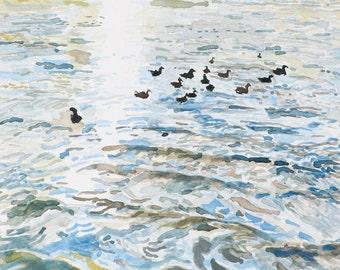 Hudson River, Original Watercolor Landscape, Digital Print