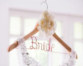 Large vintage white flower - Wooden Dress Coat Hanger Personalised + free I Do Shoe Sticker