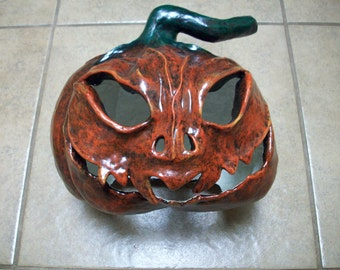 Paper Mache Jack O'Lantern, Weather Resistant