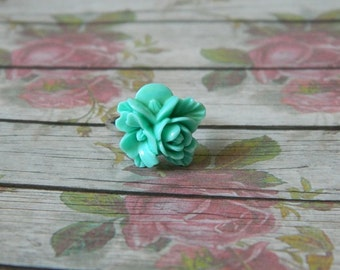 Silver Ring, Flower Ring, Green Ring, Green Flower, Festival Ring, Wedding Jewellery, Summer Ring
