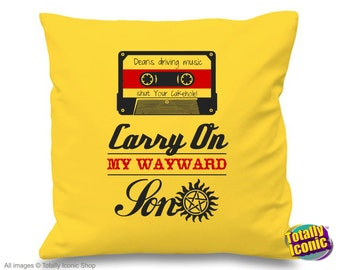 Dean Winchester Supernatural Pillow Cushion Cover- Dean's Driving Music Cassette- Carry on my Wayward Son Impala Demons