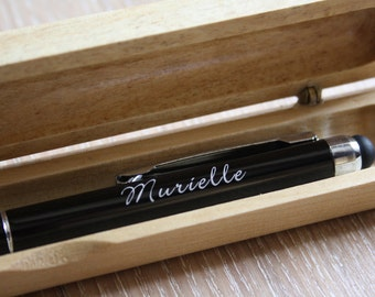 Personalized pen in metal, unique birthday gift, custom original present, name surname laser engraved in France, wooden case, black color