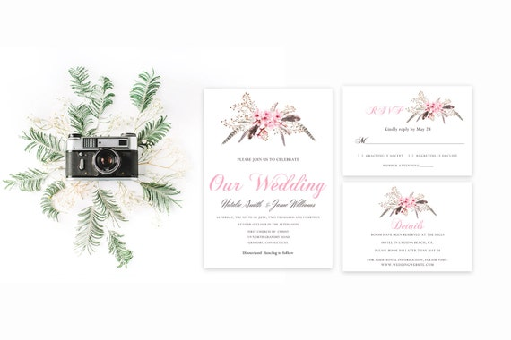 Floral wedding invite word_19,INSTANT DOWNLOAD, Editable Wedding template invitation. Microsoft Word template.Wedding Printable