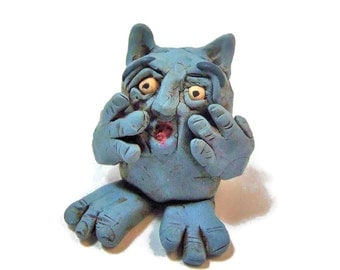 Polymer Clay Scared Blue Monster Crying Monster - Startled Blue Goblin Figurine