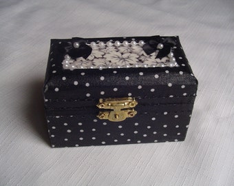 Black and white wedding ring box. wood ring box, bridesmaid gift,  polka dotted cotton fabric, beaded with bows