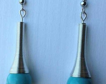Stainless steel and turquoise earrings with NICKEL FREE ear wires