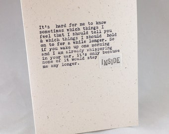 It's hard for me to know sometimes which things; tell you; hold on to; love card; INSIDE; original hand-typed card; ginger hendrix original