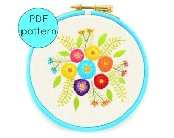 Flower Embroidery Pattern, PDF Instant Download, Create your Own Contemporary Embroidery Hoop Art