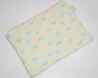 Wee Kawaii Clouds & Rainbows Padded Zippered Coin Purse, Cosmetic Case, Card Wallet --- Other Colors Available