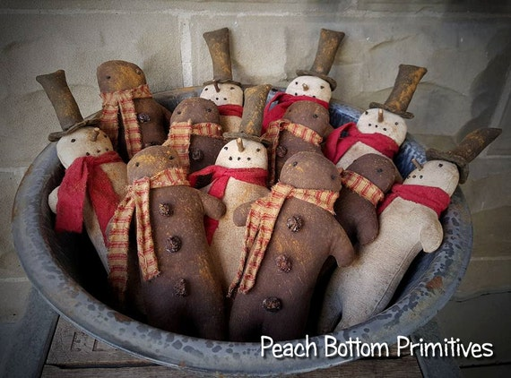 ePattern~Primitive Christmas Winter Snowman~Gingerbread man Doll Ornies PDF File, Instant Download