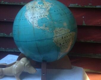 Denoyer Geppart Globe 1967 Cold War Home Office Decor Wood Base Stand RARE Find!