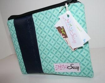 Blue Green Fabric Makeup Bag, Medium Cosmetic Bag, Lined Make up Bag
