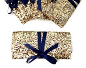 Navy and Gold Bag // Gold sequins clutch with navy bow // Sparkle glitter envelope slim wedding bag // Party clutch