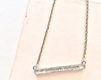 silver bar necklace, radiance, dictionary necklace