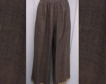 Vintage Brown wide leg cotton pants by CP Shades - w/metallic sari gold / Lounge Yoga Lagenlook Layering / Sz Med - Lge