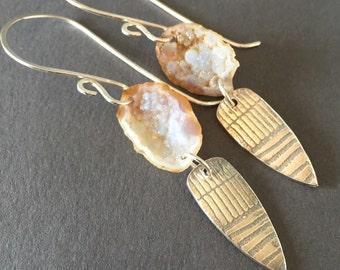 Cave Drawings, Agate Druzy Geodes, Fine Silver, Sterling Silver Charm Earrings, erinelizabeth