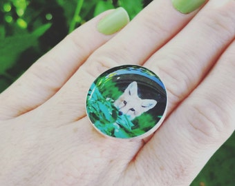 Friendly Fox Silver Plated Resin Statement Ring