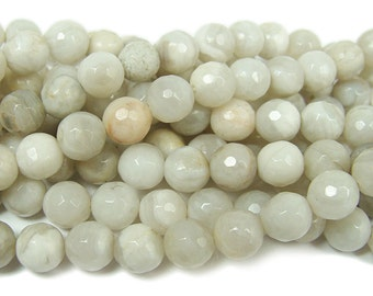 White Crazy Lace Agate Faceted Gemstone Beads